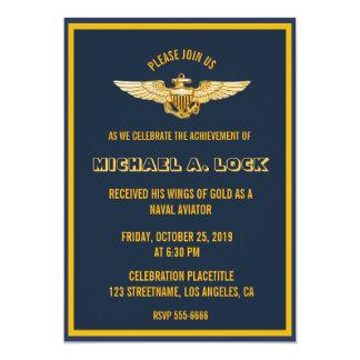 """Aviador/alas navales de las invitaciones del oro invitación 5"""" x 7"""""""