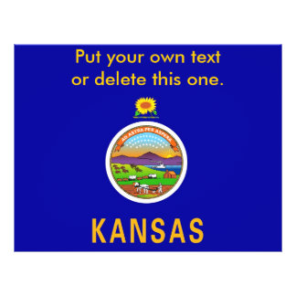 """Aviador con la bandera de Kansas, los E.E.U.U. Folleto 8.5"""" X 11"""""""