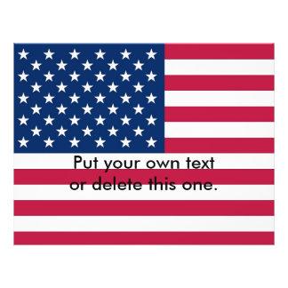 """Aviador con la bandera de los Estados Unidos de Folleto 8.5"""" X 11"""""""