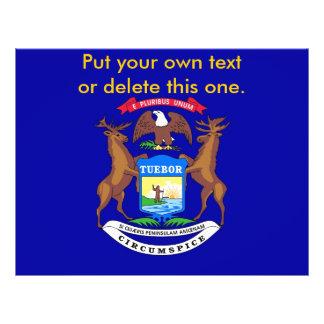 "Aviador con la bandera de Michigan, los E.E.U.U. Folleto 8.5"" X 11"""