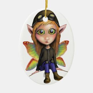 Aviador de hadas adorno navideño ovalado de cerámica