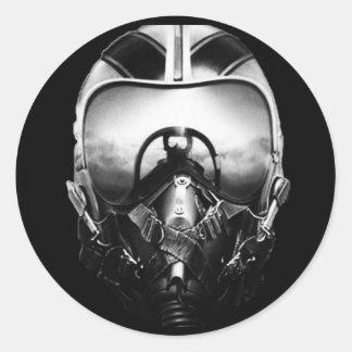 Aviador de la caza a reacción etiqueta redonda