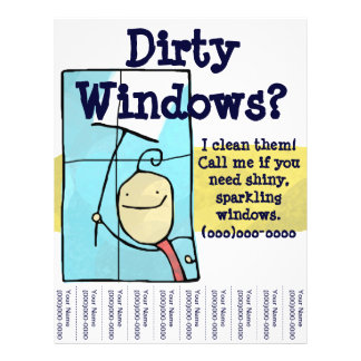 """Aviador de la limpieza de ventana folleto 8.5"""" x 11"""""""