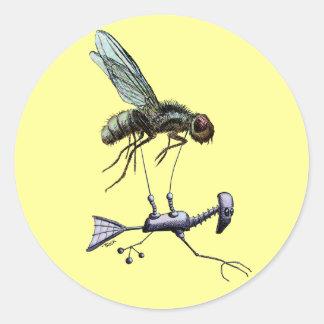 Aviador de la mosca pegatina redonda