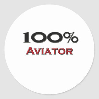 Aviador del 100 por ciento pegatina redonda