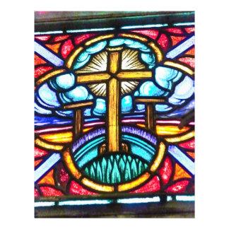 Aviador del diseño de la cruz del vitral tarjetas informativas