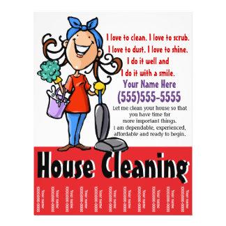 """Aviador del márketing de la limpieza de la casa folleto 8.5"""" x 11"""""""