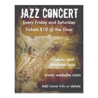 """Aviador del saxofón del concierto del jazz folleto 8.5"""" x 11"""""""