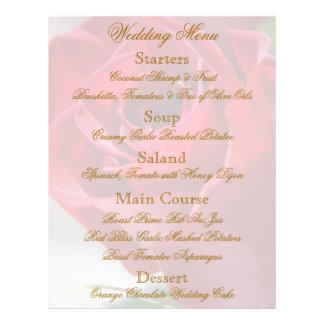 "Aviador floral del menú del boda del rosa rojo folleto 8.5"" x 11"""