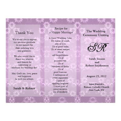 "Aviador floral del rosa del programa del boda folleto 8.5"" x 11"""