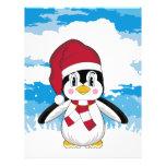 Aviador lindo del pingüino del navidad tarjetas informativas