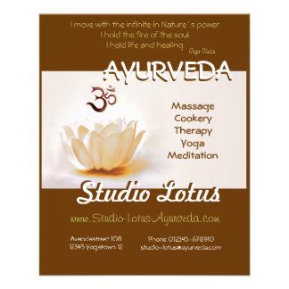 """Aviador Lotus del publicitie de la yoga de Ayurved Folleto 4.5"""" X 5.6"""""""