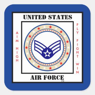 Aviador mayor SrA E-4 de la fuerza aérea Pegatina Cuadrada