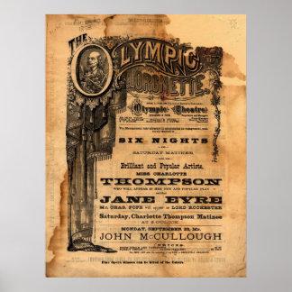 Aviador olímpico del teatro del vintage póster