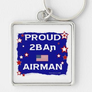 Aviador orgulloso 2BAn Llavero Cuadrado Plateado
