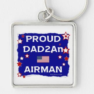 Aviador orgulloso del papá 2An Llavero Cuadrado Plateado