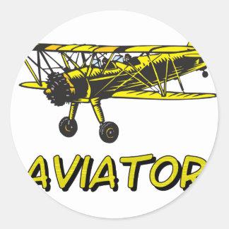 aviador pegatina redonda