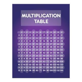 """Aviador púrpura de la tabla de multiplicación folleto 8.5"""" x 11"""""""