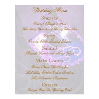 Aviador púrpura del menú del boda de la bola de ma tarjeton