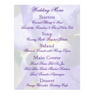 "Aviador púrpura del menú del boda del iris folleto 8.5"" x 11"""