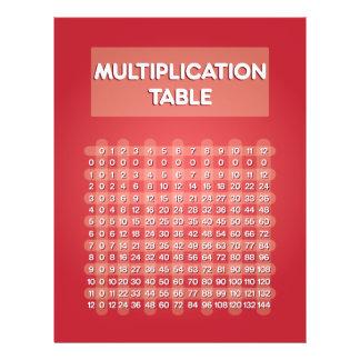 """Aviador rojo de la tabla de multiplicación folleto 8.5"""" x 11"""""""