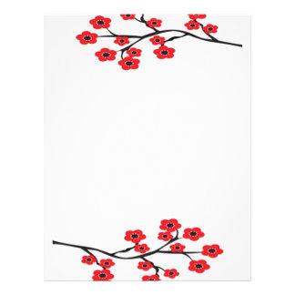 """Aviador rojo de las flores de cerezo folleto 8.5"""" x 11"""""""