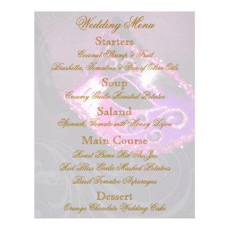 Aviador rosado del menú del boda de la bola de mas flyer personalizado