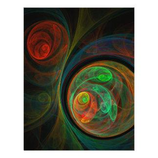 """Aviador verde del arte abstracto del renacimiento folleto 8.5"""" x 11"""""""