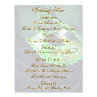 Aviador verde del menú del boda de la bola de masc flyer personalizado