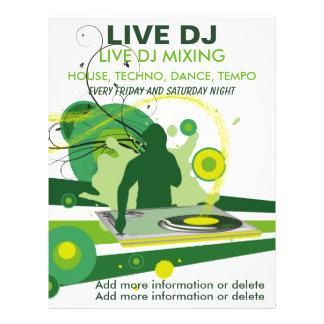 "Aviador vivo de DJ del Grunge verde Folleto 8.5"" X 11"""