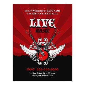 """Aviador vivo del concierto/del fiesta de la música folleto 8.5"""" x 11"""""""
