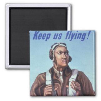Aviadores afroamericanos de WPA Tuskegee de WW2 Imán Cuadrado