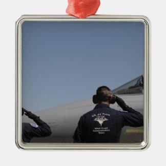 Aviadores de la fuerza aérea de los E.E.U.U. Adorno Navideño Cuadrado De Metal