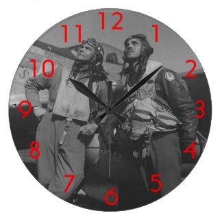 Aviadores de Tuskegee Reloj Redondo Grande
