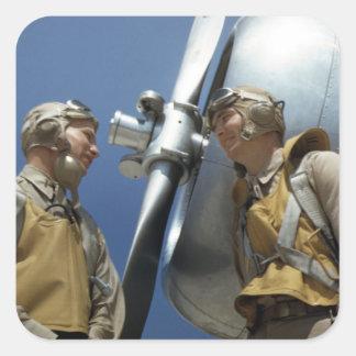 Aviadores del Cuerpo del Marines WW2 Pegatina Cuadrada