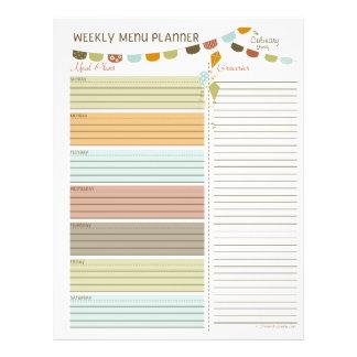 Aviadores semanales del planificador del menú de l tarjetas informativas