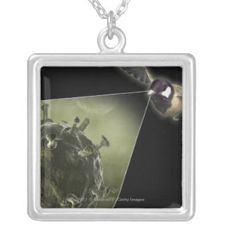 Avian flu coming out of bird silver plated necklace