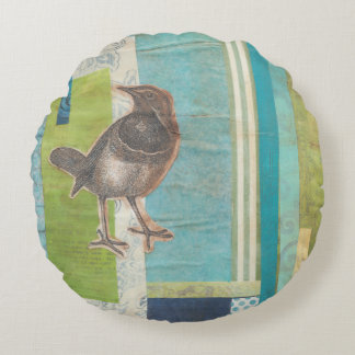 Avian Scrapbook I Round Pillow