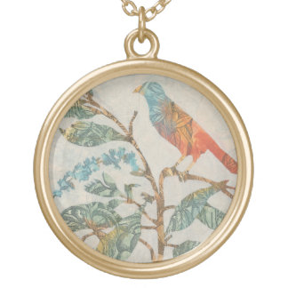 Aviary Collage II Gold Plated Necklace