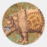Aviateros (Aviator Rhinoceros) Round Sticker