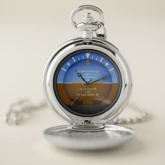 Aviation Aircraft Attitude Indicator Pocket Watch