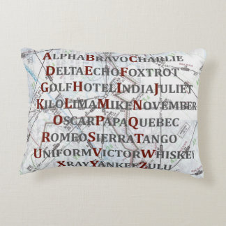 Aviation Alphabet Red and Gray, Pillow