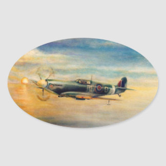 Aviation art oval sticker