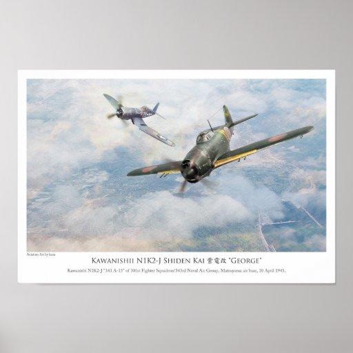 "aviation Art Poster ""Kawanishii N1K2-J Shiden Ka """