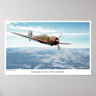 "Aviation Art Poster ""Kawasaki Ki-100"""