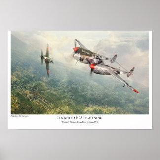 """aviation Art Poster """"Lockheed P-38 Lightning """""""