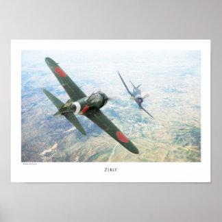 """Aviation Art Poster """"Mitsubishi A6M Zero """""""