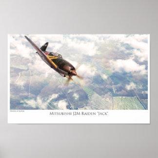 """Aviation Art Poster """"Mitsubishi J2M Raiden""""Jack"""""""