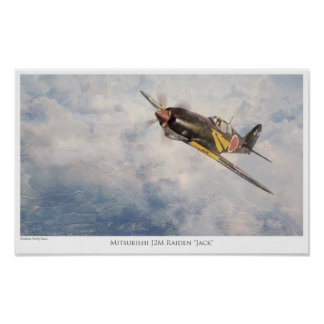 """Aviation Art Poster """"Mitsubishi J2M Raiden""""Jack"""""""""""