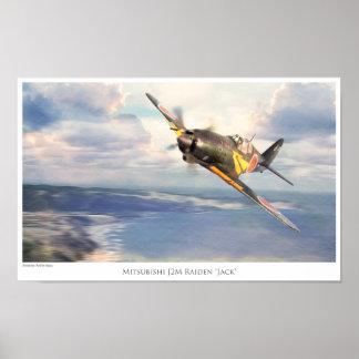 Aviation Art Poster Mitsubishi J2M Raiden Jack